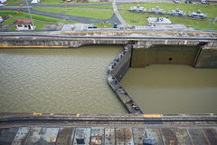 Massive Panama Canal lock. An overhead view looking down on the massive Miraflores Lock Gates on the famous Panama Canal stock image