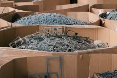 Massive pile of scrap metal or plastic stock photography