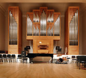 Massive pipe organ. Encased in wood inside a  university Royalty Free Stock Photography