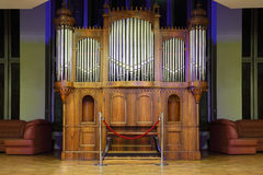 Massive pipe organ with many metal pipes Stock Photography