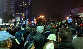 Massive protest anti communism and pro democracy in Bucharest Stock Photo