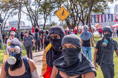 Massive Protest in Brasilia, Brasilia. Brasilia, Brazil - May 24th, 2017 Masked Protesters Gather on the Esplanada or Mall to Protest Against the Corruption in Royalty Free Stock Photo