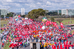 Massive Protest in Brasilia, Brasilia. Brasilia, Brazil - May 24th, 2017:Protesters Gather on the Esplanada or Mall to Protest Against the Corruption in the Royalty Free Stock Photo