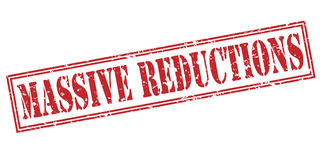 Massive reductions red stamp. Isolated on white background royalty free illustration