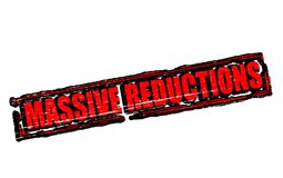 Massive reductions. Rubber stamps with text massive reductions inside, illustration stock illustration