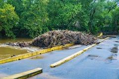 Massive River Debris on the Low Bridge, Roanoke River, Roanoke, VA, USA - 2 Stock Images