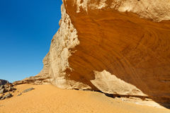 Massive Rock Face in the Sahara Desert Stock Image