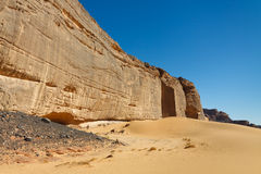 Massive Rock Wall, Akakus, Mountains, Sahara Libya Stock Images