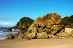 Massive rocks on beach at Port Macquarie Australia Royalty Free Stock Photography