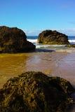 Massive rocks on beach at Port Macquarie Australia Stock Image
