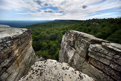 Massive rocks and view to the valley at Minnewaska State Park Stock Photos