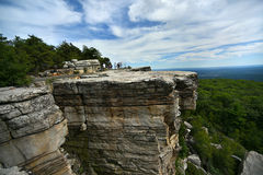 Massive rocks and view to the valley at Minnewaska State Park Royalty Free Stock Image