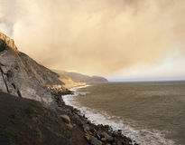 Massive Smoke Plumes over PCH-1, CA Royalty Free Stock Image