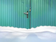 Massive Snow And Locked Gate Royalty Free Stock Image