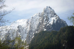 Massive Snowy Mountain Cliffs Stock Photo