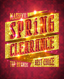 Massive spring clearance vector design concept. Top brands, best choice, rich golden sale banner with sparkles Royalty Free Stock Images