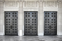 Massive Steel Door on Neo Classical Building Stock Image
