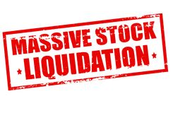Massive stock liquidation. Rubber stamp with text assive stock liquidation inside,  illustration Royalty Free Stock Photography