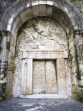 Massive stone door. A massive stone door at Beit Shearim, an ancient jewish necropolis in Israel Stock Photos