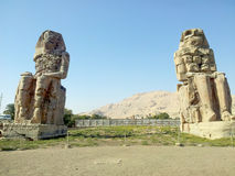 Massive stone statues of Pharaoh Amenhotep III stock photo