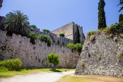 Massive stone walls, Rhodes, Greece Royalty Free Stock Photography