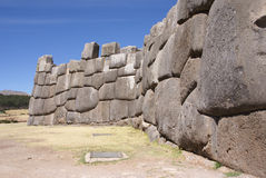Massive stones in Inca fortress walls Stock Images