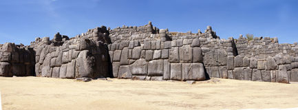 Massive stones in Inca fortress walls Royalty Free Stock Photos