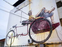 Massive Street Art Mural in Georgetown, Penang, Malaysia Royalty Free Stock Images
