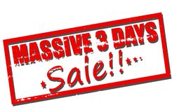 Massive three days sale. Rubber stamp with text massive three days sale inside,  illustration Stock Images