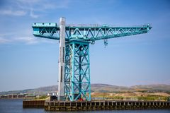 The massive Titan Crane at the site of John Brown`s yard in Clydebank. The massive Titan crane at the site of John Brown`s shipyard in Clydebank, Scotland. Built Stock Photos
