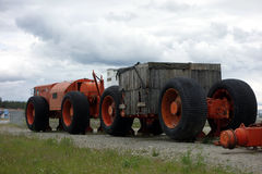 A massive tractor on display in the yukon territories Stock Image
