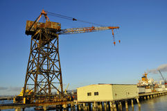 Massive Vintage Shipping Crane. In Bay Area Shipping Port, California Royalty Free Stock Image