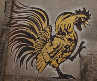 Massive Wall Painting of a Rooster Royalty Free Stock Photography