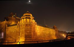 Massive wall and tower of Red Fort Delhi Royalty Free Stock Images
