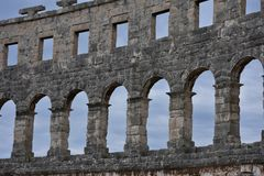 Coliseum.Pula.Croatia.Giant construction of the huge amphitheater. The massive walls of the amphitheater in Pula.Croatia.place of gladiatorial combat Royalty Free Stock Image