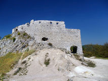 Massive walls of Cachtice Castle, Slovakia royalty free stock photo