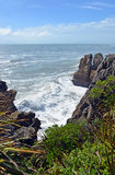 Massive Waves at Punakaiki Rocks looking towards Karamea, New Ze Stock Images