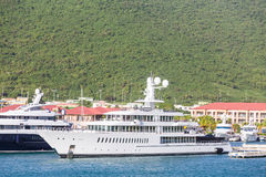 Massive White Yacht in Harbor Royalty Free Stock Photos