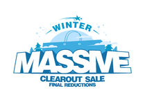 Massive winter clearout sale design with big shopping bag Stock Image