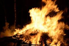 Massive wood fire Royalty Free Stock Photo