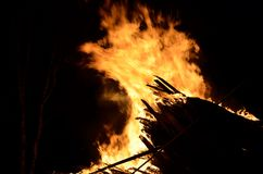 Massive wood fire Royalty Free Stock Image