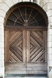Massive wooden door royalty free stock photography