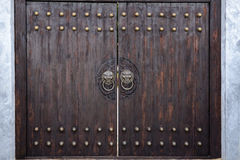 Massive wooden gate in the Japanese style.  Stock Photo