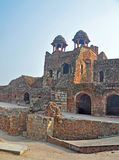 Massively built gate of Purana Qila Delhi. The Purana Qila or Old Fort is well-protected by a massive wall around it. A moat also protects the citadel. Entrances royalty free stock photo