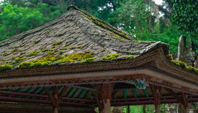 Traditional Balinese temple roof. Massively ornamented traditional Balinese temple roof covered partly by moss royalty free stock image
