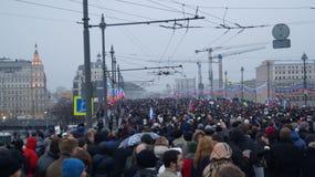Massmöte i Moskvamars 1st 2015 Arkivbild