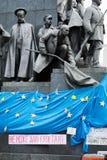 Massmötet stöttar in en eurounion Fotografering för Bildbyråer