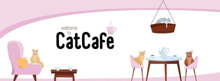 Massmedia för baner för Fb-räkningsrengöringsduk planlägger det sociala välkomnande till vektorn för kattkafémallen på vit bakgru stock illustrationer