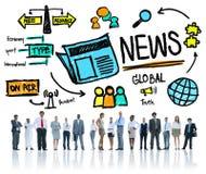 Massmedia för uppdatering för publikation för information om nyheternajournalistik Arkivfoton