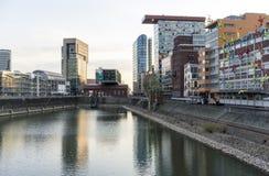 Massmedia hamn, Dusseldorf Royaltyfri Foto